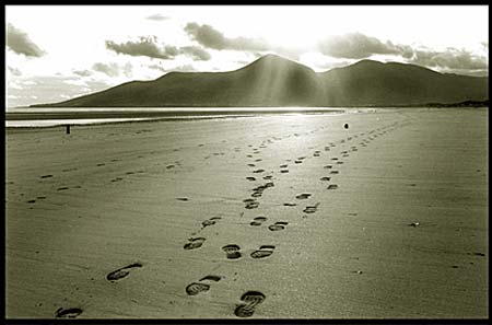 Footsteps in the sand at Dundrum Bay