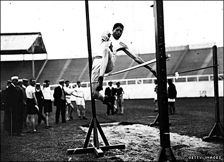 America's Ray Ewry winning the standing high jump at the 1908 Olympic Games in London