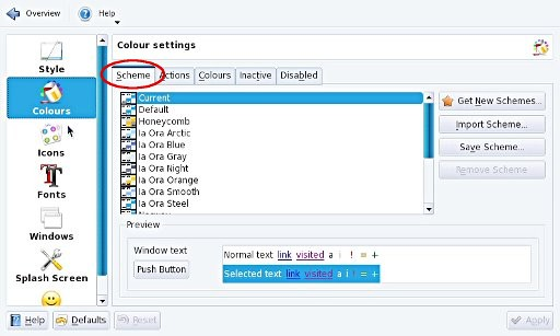 'Color settings' window showing the 'Scheme' tab