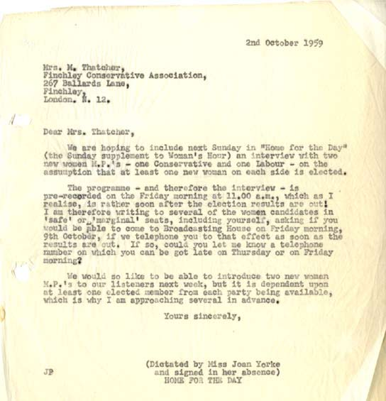 Document - Letter to Margaret Thatcher about the General Election in 1959.