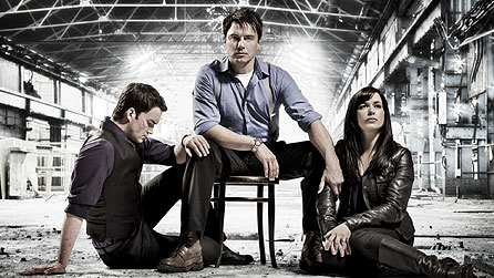L-R: Ianto Jones (Gareth David-Lloyd), Captain Jack (John Barrowman) & Gwen Cooper (Eve Myles)