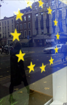 EU flag reflected on a window in Dublin