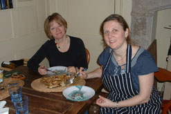 Sheila Dillon and Angela Hartnett with Bread and Butter Pudding
