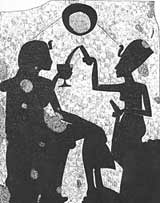 A line drawing of a stela from Berlin, depicting Akhenaten with the pharaoh-queen
