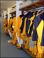 View of Whitby lifeboat station's changing room