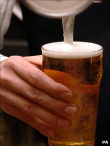 A pint being pulled