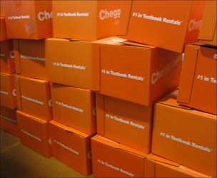 Boxes of textbooks at Chegg