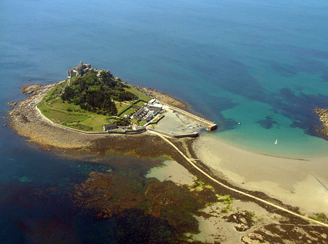 View of St Michaels Mount from the air