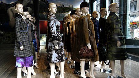 Dummies dressed in clothes for fashion display