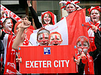 Fans celebrate Exeter's promotion