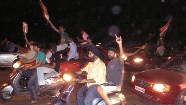 Indian fans celebrate their World Cup success