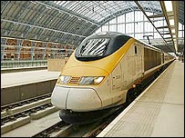 A Eurostar train at London's St Pancras station