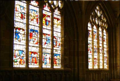 Stained glass windows at Malvern Priory
