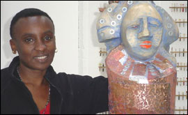 Lilian Nabulime with sculpture