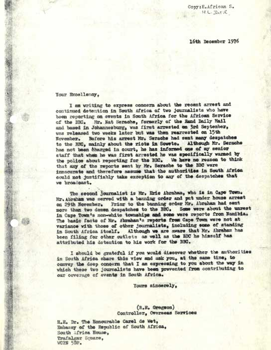 A letter about the arrest of two journalists in 1976.