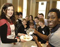 Blue Peter's Andy Akinwolere at a cooking demonstration
