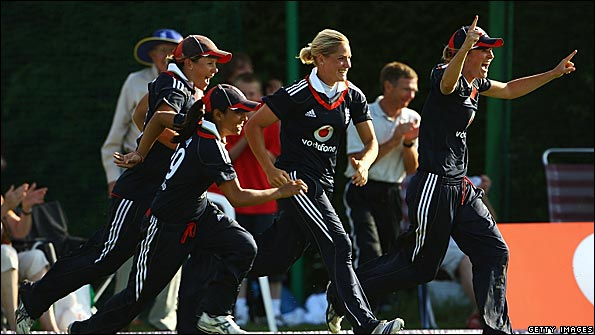 England celebrate their limited overs international series win against Australia