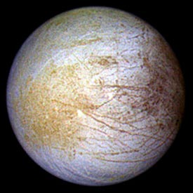 Europa showing surface of water ice