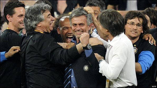 Inter Milan manager Jose Mourinho celebrates his side's Champions League final victory