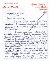 Letter from Enid Blyton to Reverend JW Welch.