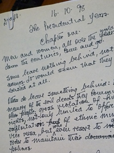 Some of Nelson Mandela's hand-written notes