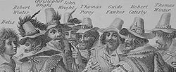 Engraving of the Gunpowder Plot conspirators, 1605 (Thomas Bates, Robert Winter, Christopher Wright, John Wright, Thomas Percy, Guy Fawkes, Robert Catesby, Thomas Winter), by unknown artist