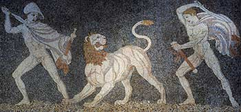 Alexander the Great 356-323 BC (in hat) and friend Hephaistion (or Krateros) hunting lion, pebble mosaic from house of Peristyle at Pella Greece 320 BC