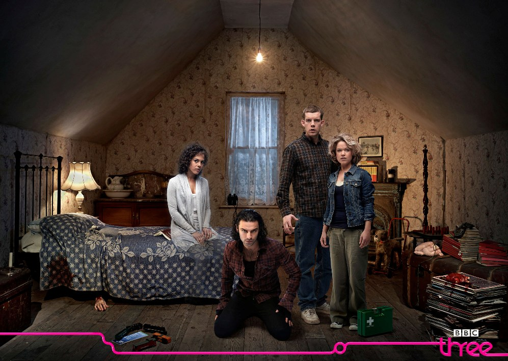 Annie, George, Mitchell and Nina in the attic