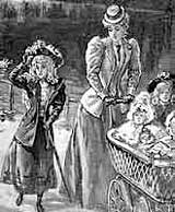 Image of Victorian mother, pushing a pram