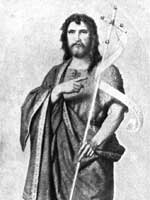 John the Baptist depicted with a Baptist cross