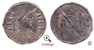 A silver penny from the reign of Alfred, King of Wessex 871-899. Minted in London around 880. Obverse (left) reverse (right)