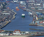 Aerial picture of the port at Great Yarmouth