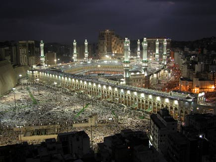 Aerial view of Mecca lit up at night