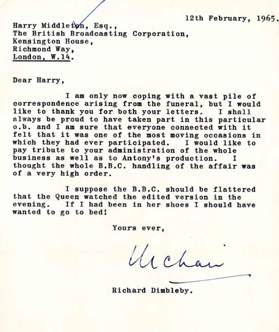 Letter from Richard Dimbleby to Harry Middleton.