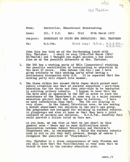 Document - Memorandum about Margaret Thatcher's interests in broadcasting as Secretary of State for Education.