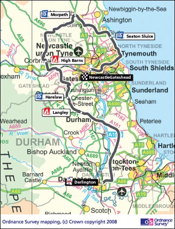 Map Of England Durham.Bbc Wear Places Tour Of Britain On Wearside