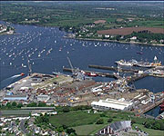 Aerial picture of Falmouth harbour