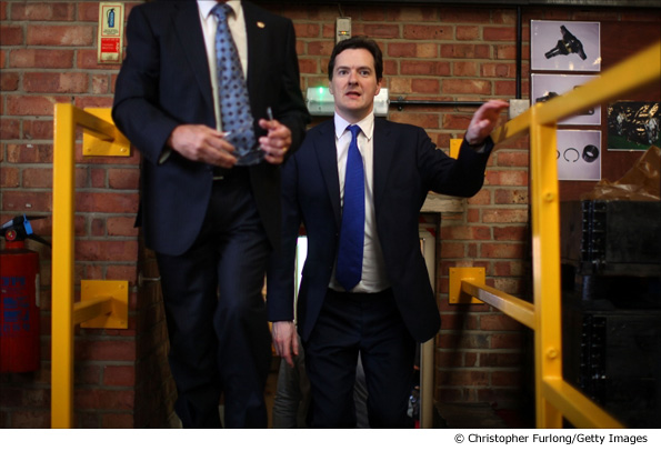 Conservative George Osborne tours the workshops of Squires Gear and Engineering Ltd in Coventry
