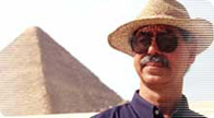 Image of Professor Hassan surveying the Great Pyramids at Giza