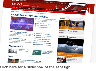 Slideshow of the redesigned BBC News website