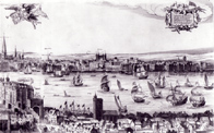 line drawing of London river scene, 1616