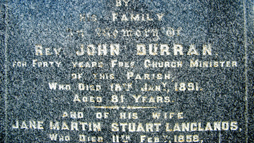 The gravestone of former occupant, the Rev John Durran.