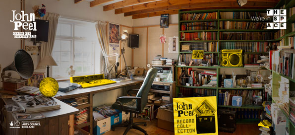 A messy home studio, with different objects on the shelves highlighted in yellow. Logos for