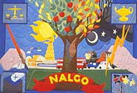Colourful painting style banner for Nalgo
