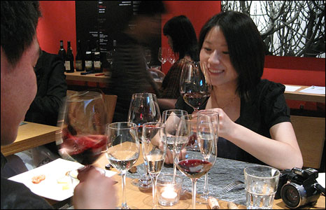 Chinese people wine tasting
