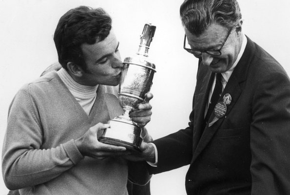 Tony Jacklin celebrates his 1969 win