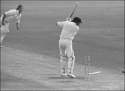 Ian Botham of England bowls Rodney Hogg of Australia in December 1978