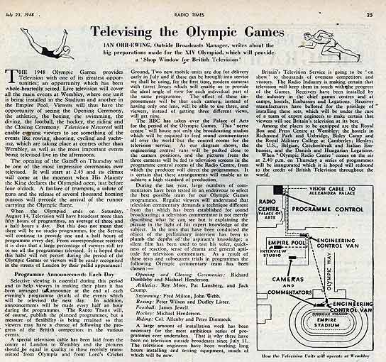 A Radio Times article about Televising the Olympic Games.