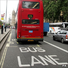Bus in bus lane