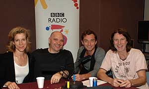 Juliet Stevenson, Anthony Minghella, Jude Law and David Threlfall in the studio after the recording
